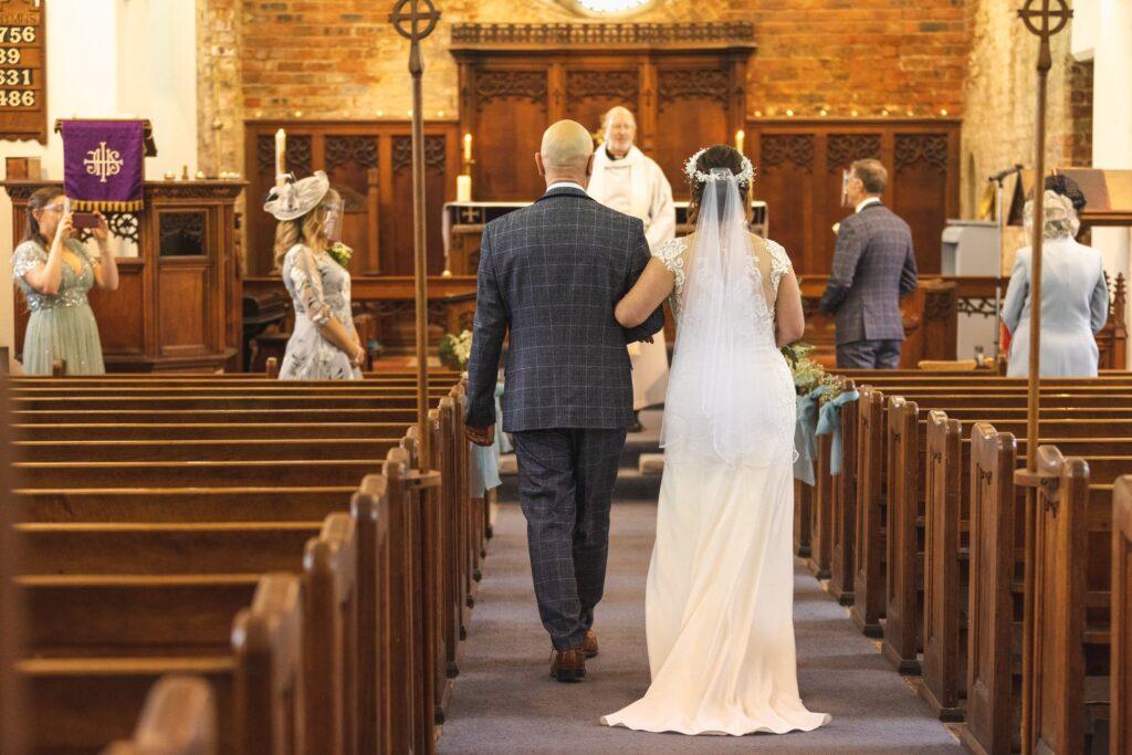 father of bride walks daughter down aisle st johns churchyard rishworth sowerby bridge oxford wedding photography