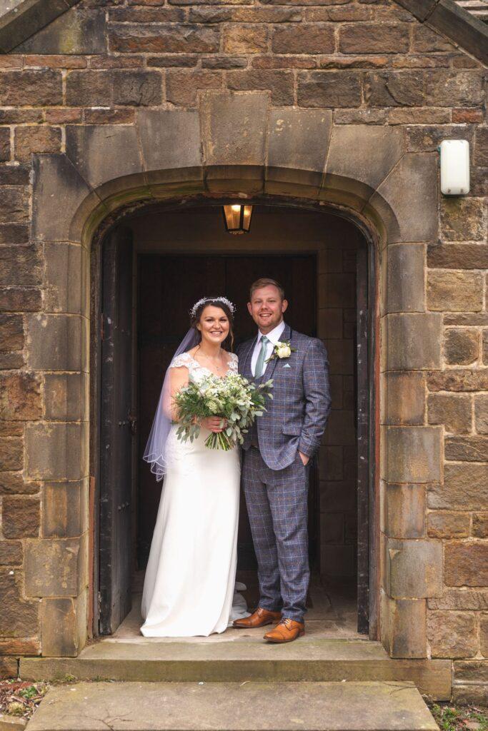 bride groom just married st johns church archway rishworth sowerby bridge oxford wedding photography