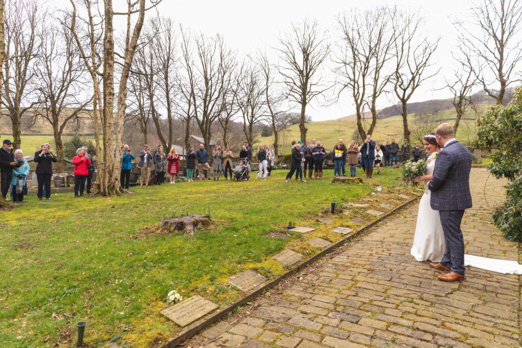 bride grooms photo shoot st johns churchyard rishworth sowerby bridge oxford wedding photographers