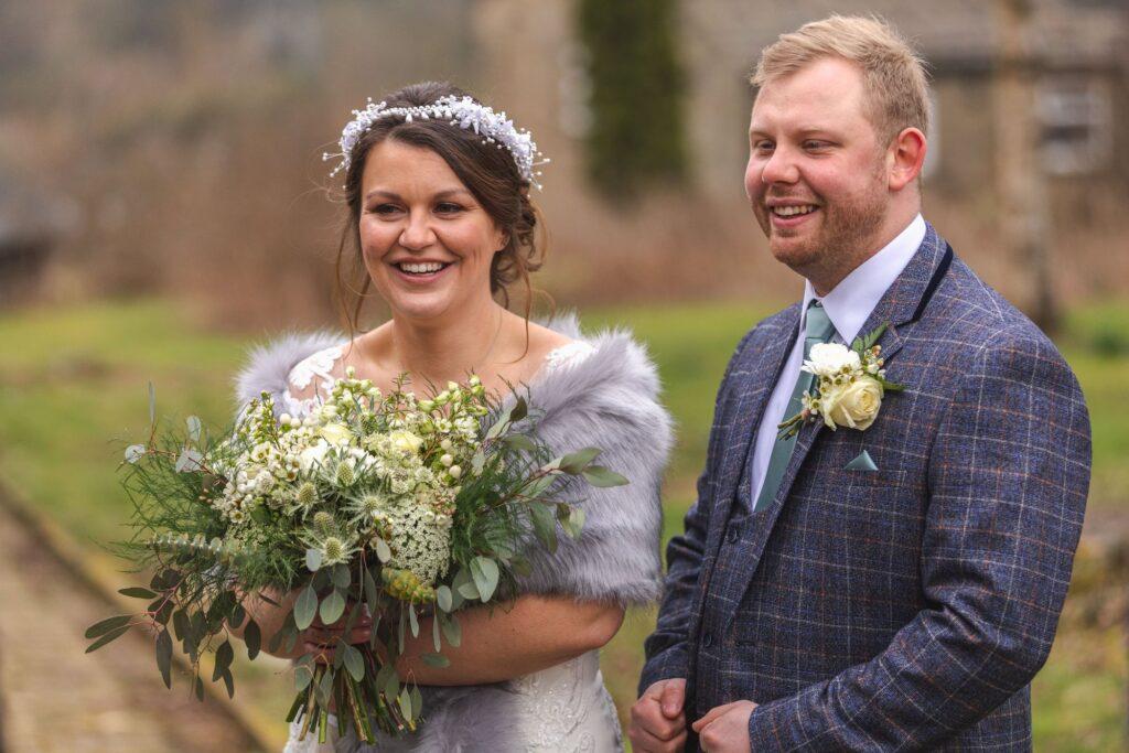 smiling bride groom st johns churchyard rishworth sowerby bridge oxford wedding photographers