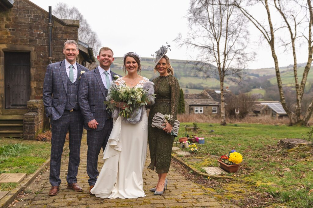 traditional bridal party portrait st johns church west yorkshire wedding oxfordshire wedding photographer