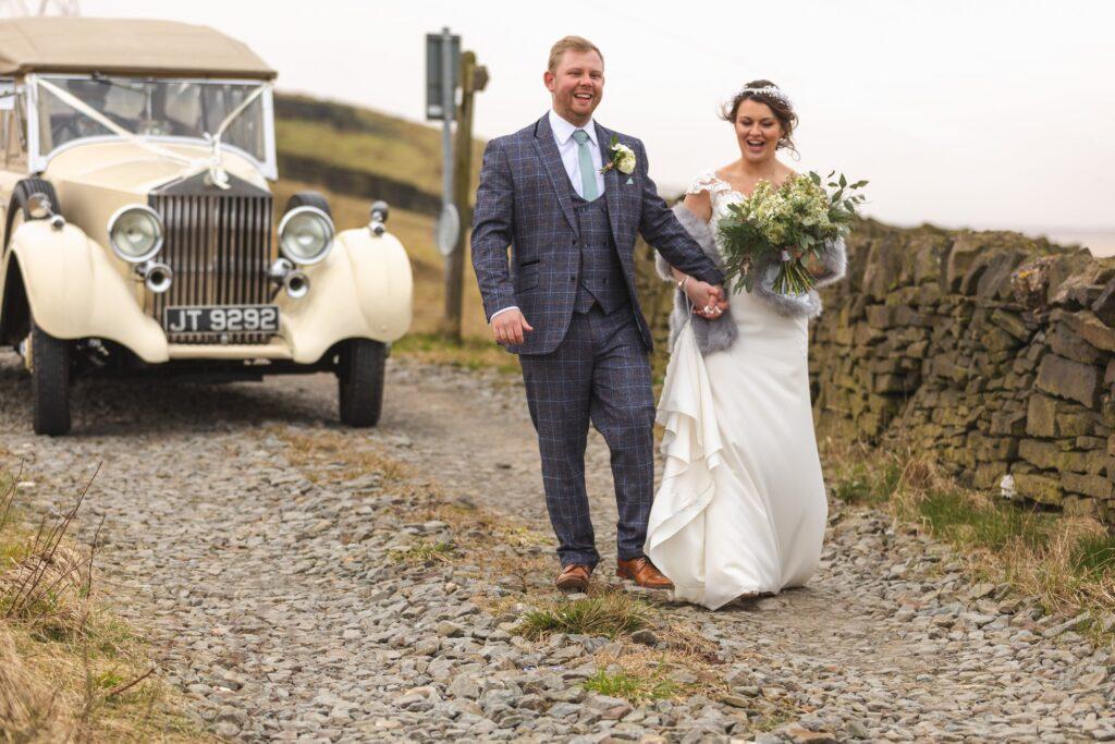 bride grooms hillside path stroll rishworth sowerby bridge oxfordshire wedding photographer