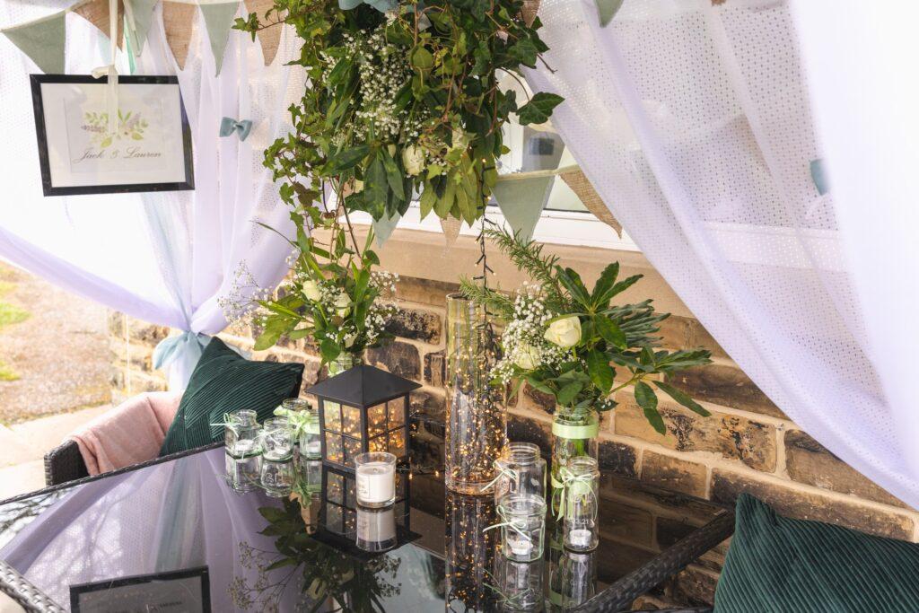 wedding breakfast table arrangement west yorkshire wedding oxford wedding photographers
