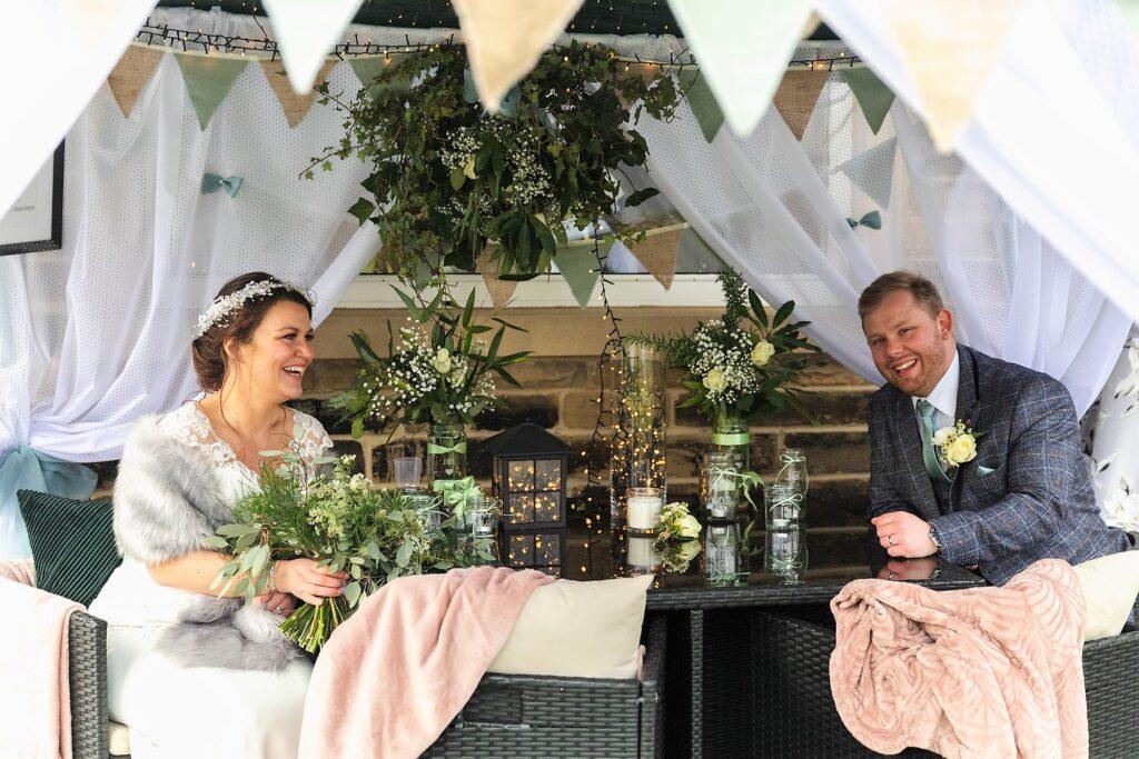 bride grooms west yorkshire wedding breakfast canopy oxford wedding photography