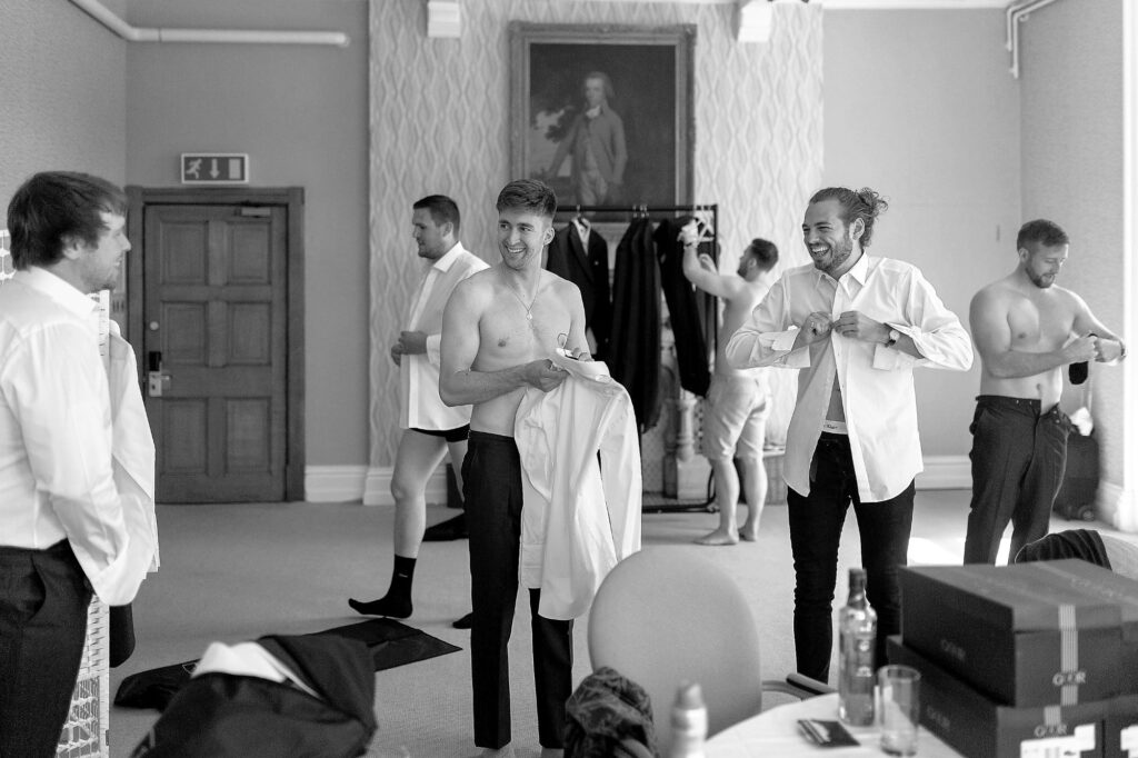 23 groom bestman groomsmen preparation the elvetham hartley wintney hampshire oxford wedding photographers
