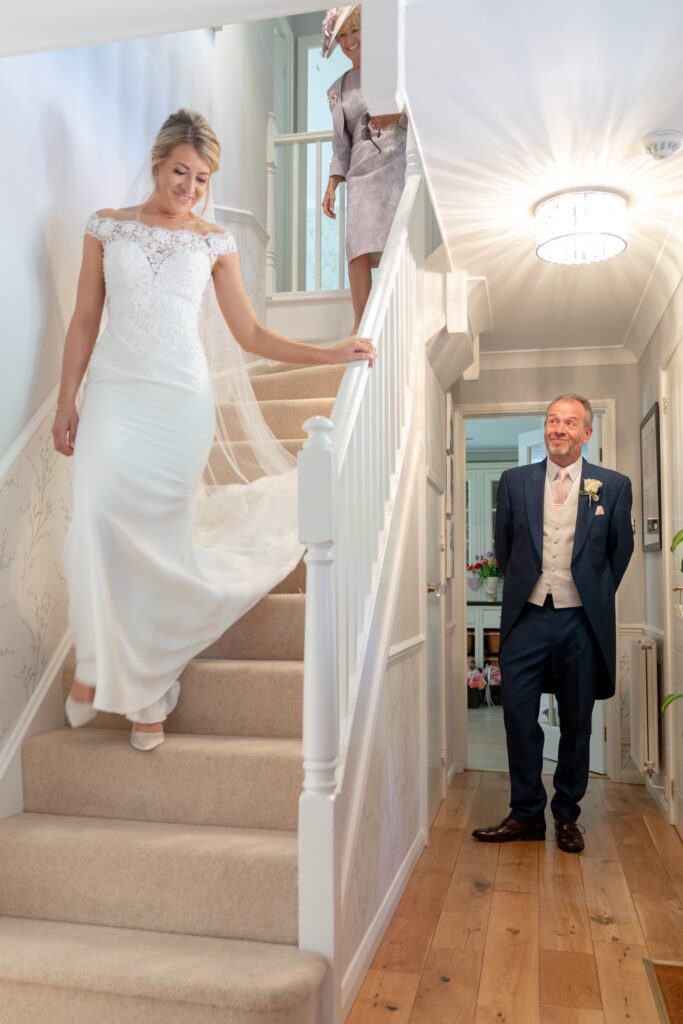 25 father of bride first look brides dress the elvetham hartley wintney hampshire oxfordshire wedding photographer