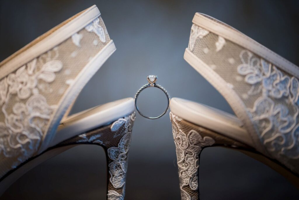 brides ring with jimmy choo shoes oxfordshire wedding photography