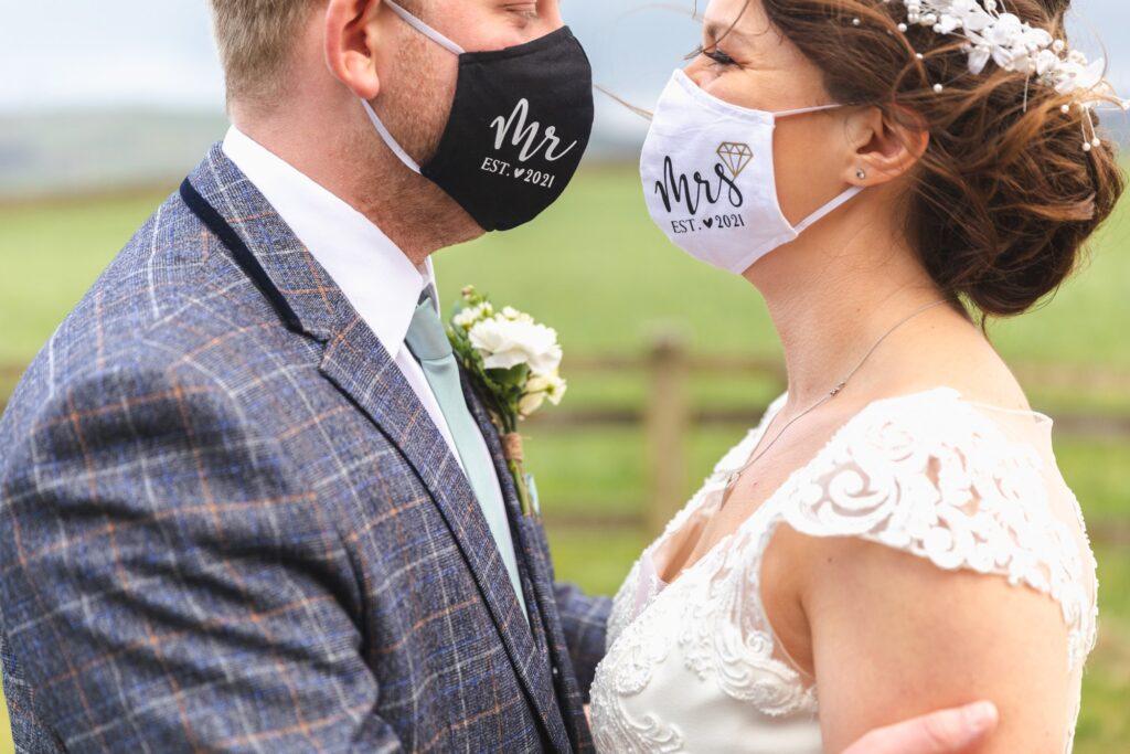 bride groom wear mr mrs covid face masks west yorkshire wedding oxfordshire wedding photographers