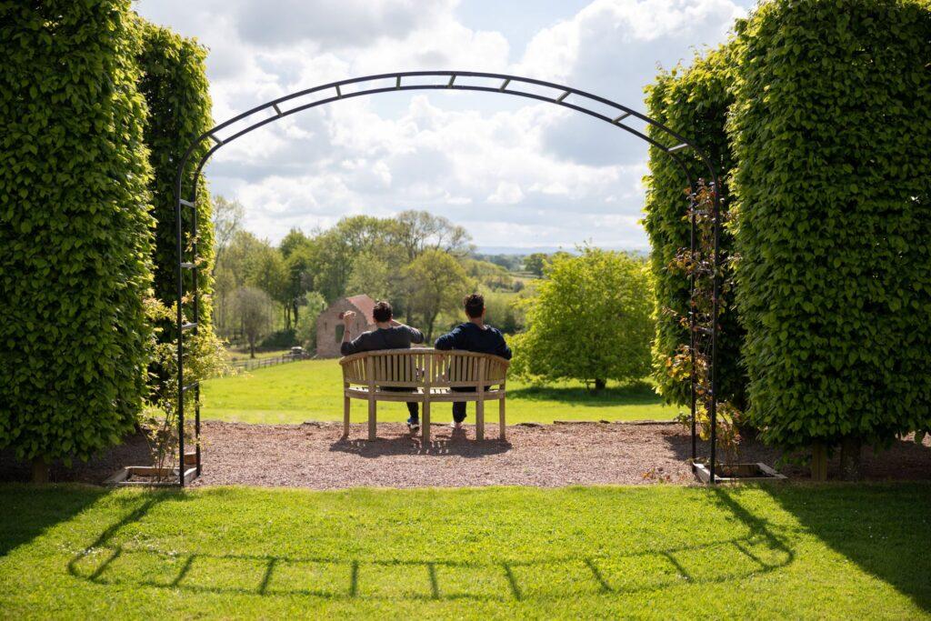 05 groom bestman enjoy views pauntley court gardens gloucester oxfordshire wedding photographers
