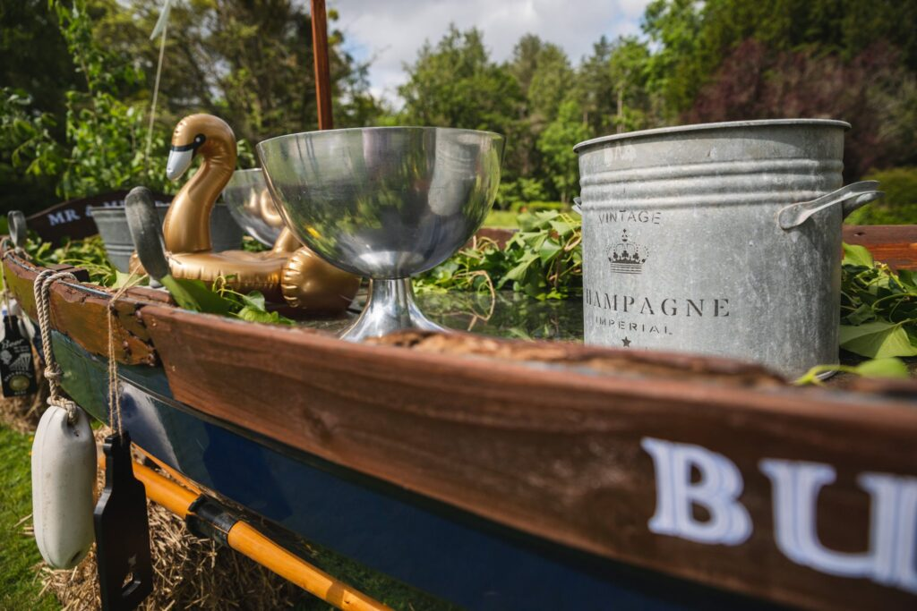 06 champagne boat winkfield windsor private home wedding event berkshire oxfordshire wedding photography