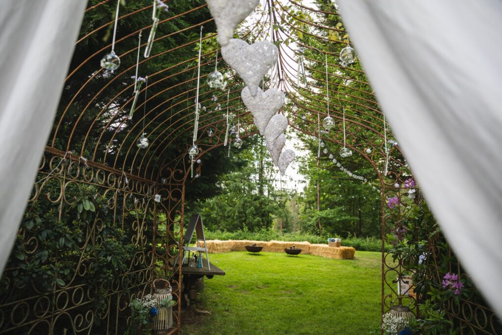 09 decorated garden arch winkfield windsor private home wedding event berkshire oxford wedding photography