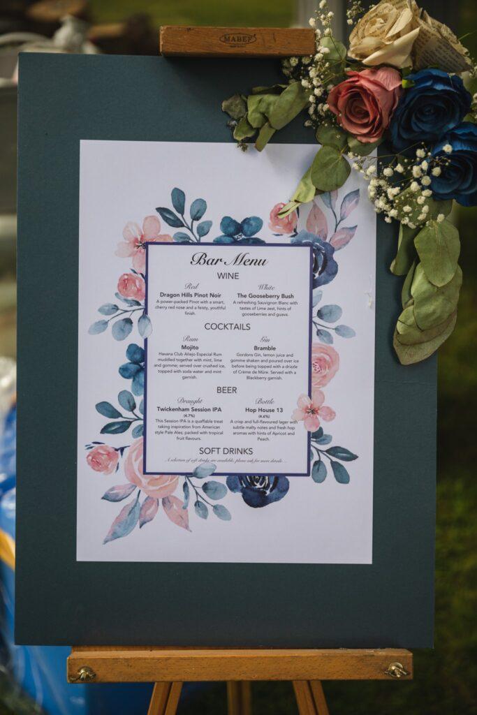 10 bar menu winkfield windsor private home wedding event berkshire oxfordshire wedding photographer
