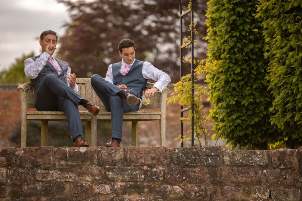 100 groom bestman smoke cigars pauntley court gloucester oxford wedding photographer