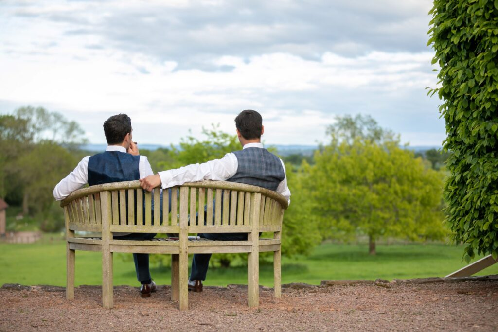 101 groom bestman enjoy views smoking cigars pauntley court gloucester oxford wedding photographers