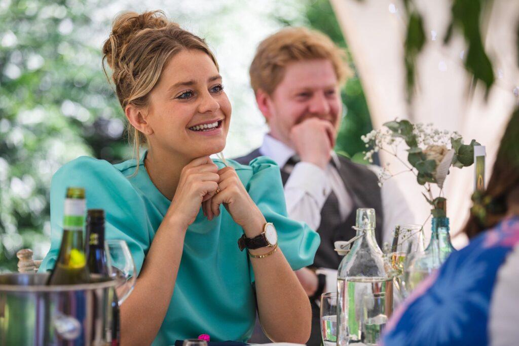 101 smiling guests enjoy wedding breakfast speech winkfield berkshire oxfordshire wedding photographers