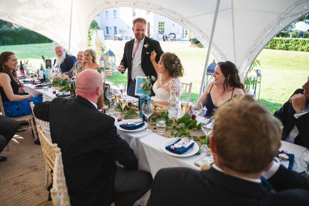 103 grooms wedding breakfast speech garden marquee winkfield berkshire oxford wedding photography