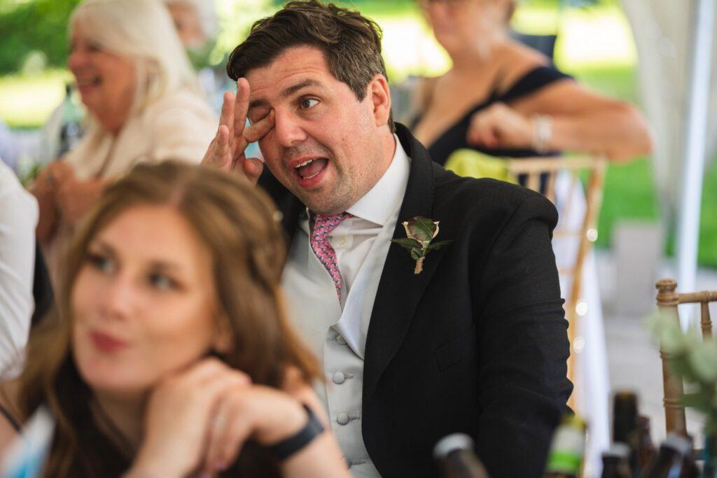 106 tearful guests hears bestmans speech winkfield garden marquee winkfield berkshire oxfordshire wedding photographers