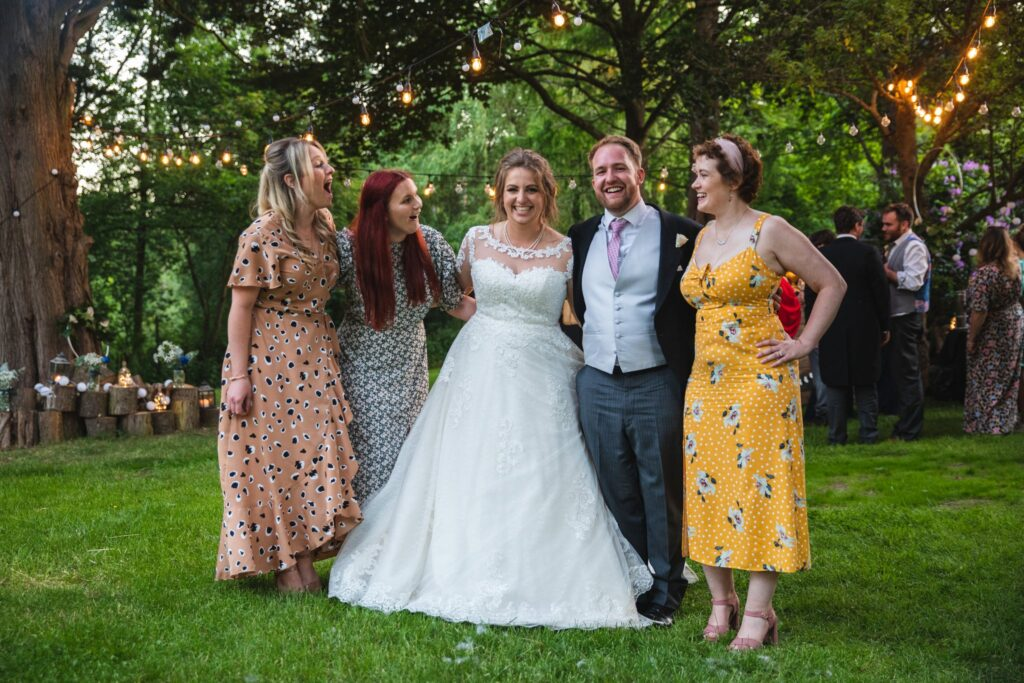 115 happy bride groom guests winkfield woodland party berkshire oxford wedding photographers