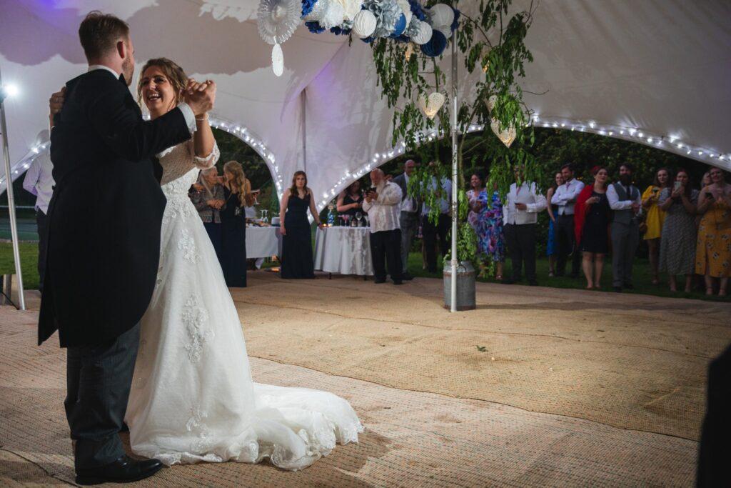 117 guest watch bride grooms first dance winkfield berkshire oxfordshire wedding photographer