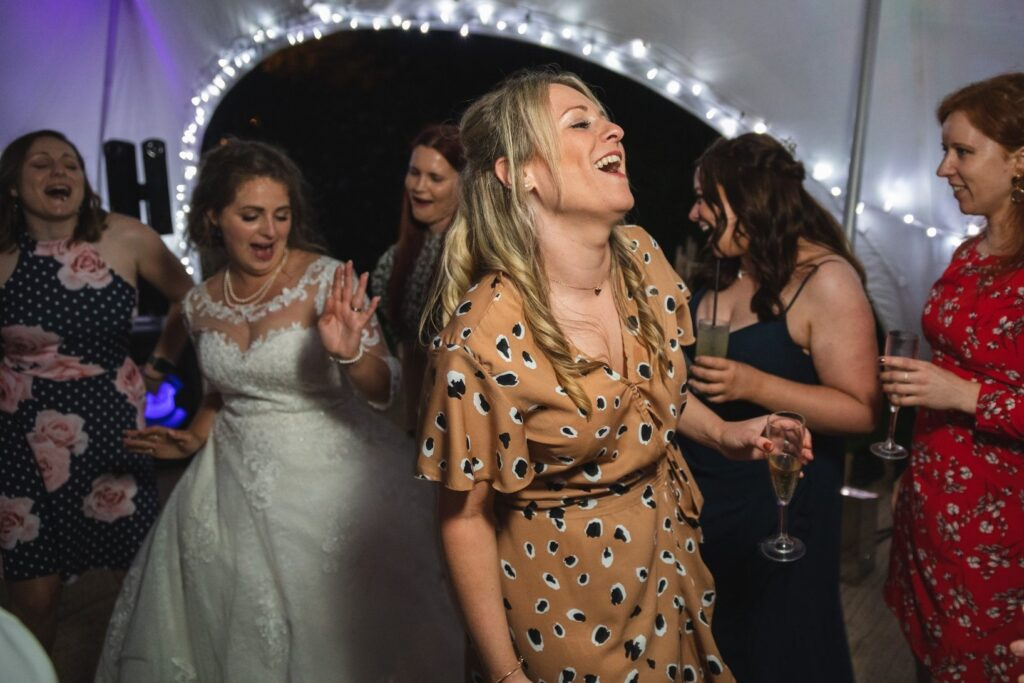 126 bride guest enjoy dancing wedding marquee party winkfield berkshire oxford wedding photographer