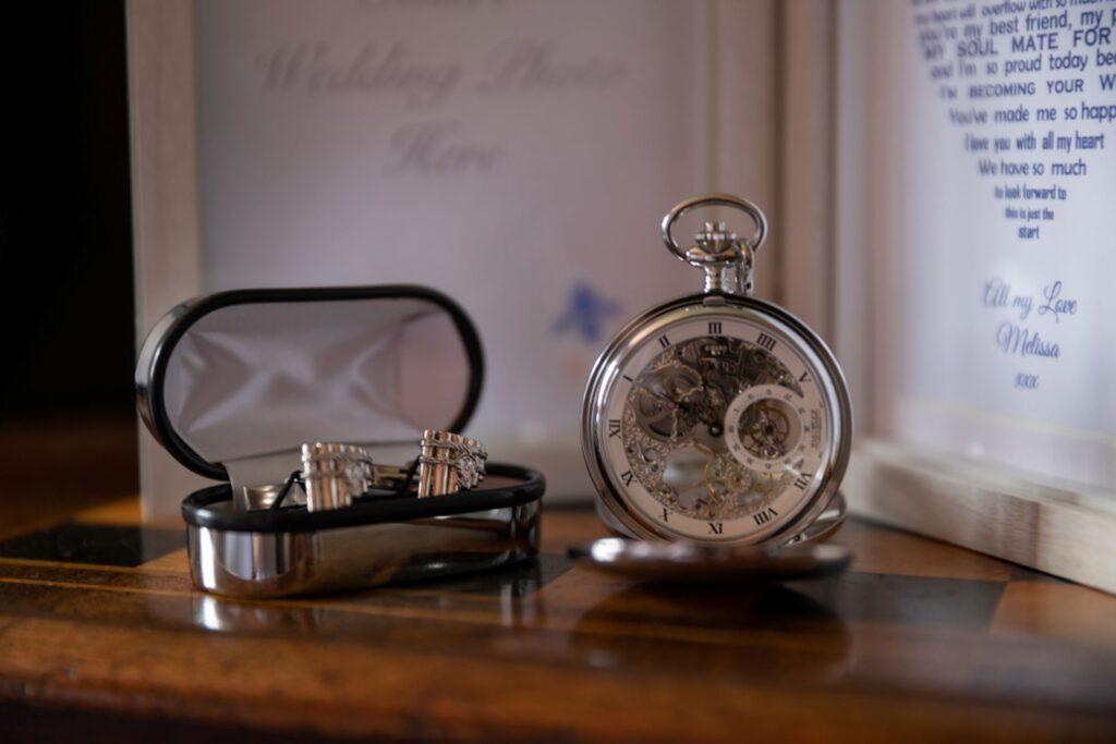 19 pocket watch cuff links grooms prep pauntley court gloucester oxford wedding photographer