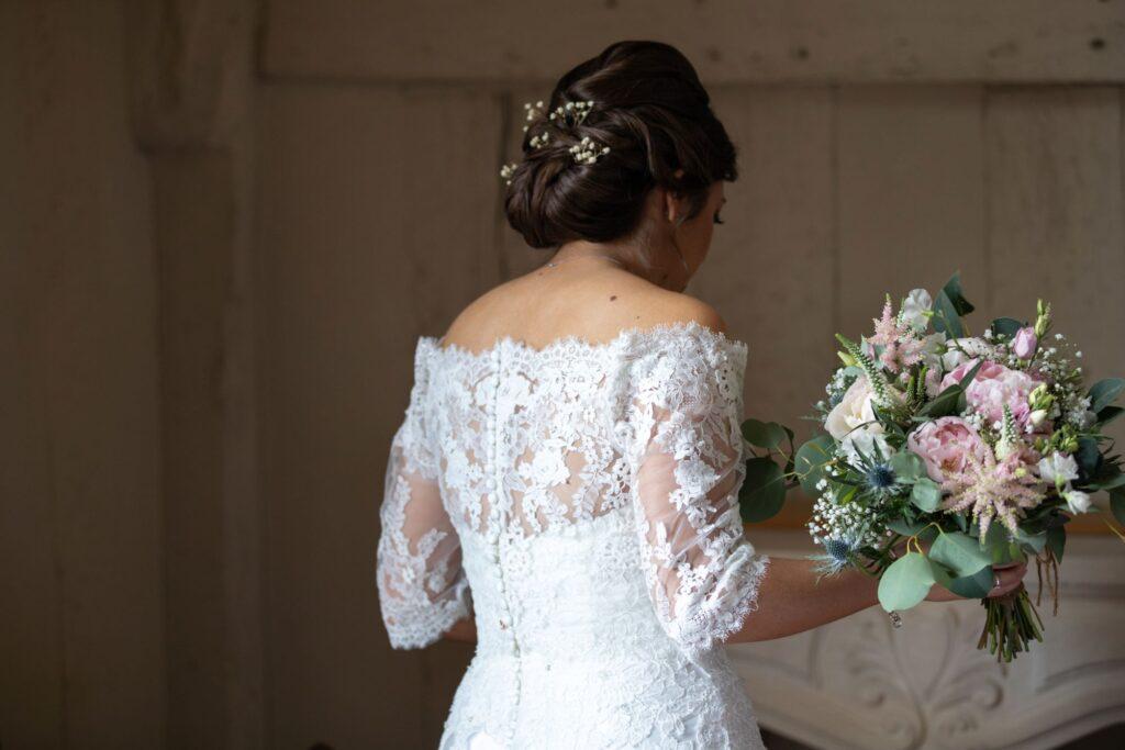 30 brides dress detail hairstyle bouquet bridal prep pauntley court gloucester oxfordshire wedding photography