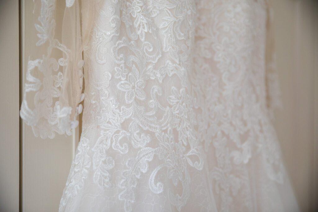 34 brides lace dress detail bridal prep winkfield berkshire oxfordshire wedding photography