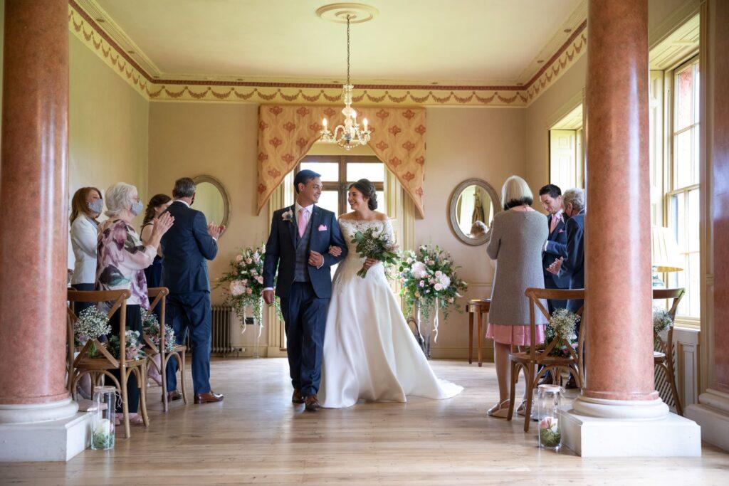 49 bride groom aisle walk marriage ceremony pauntley court gloucester oxford wedding photographer
