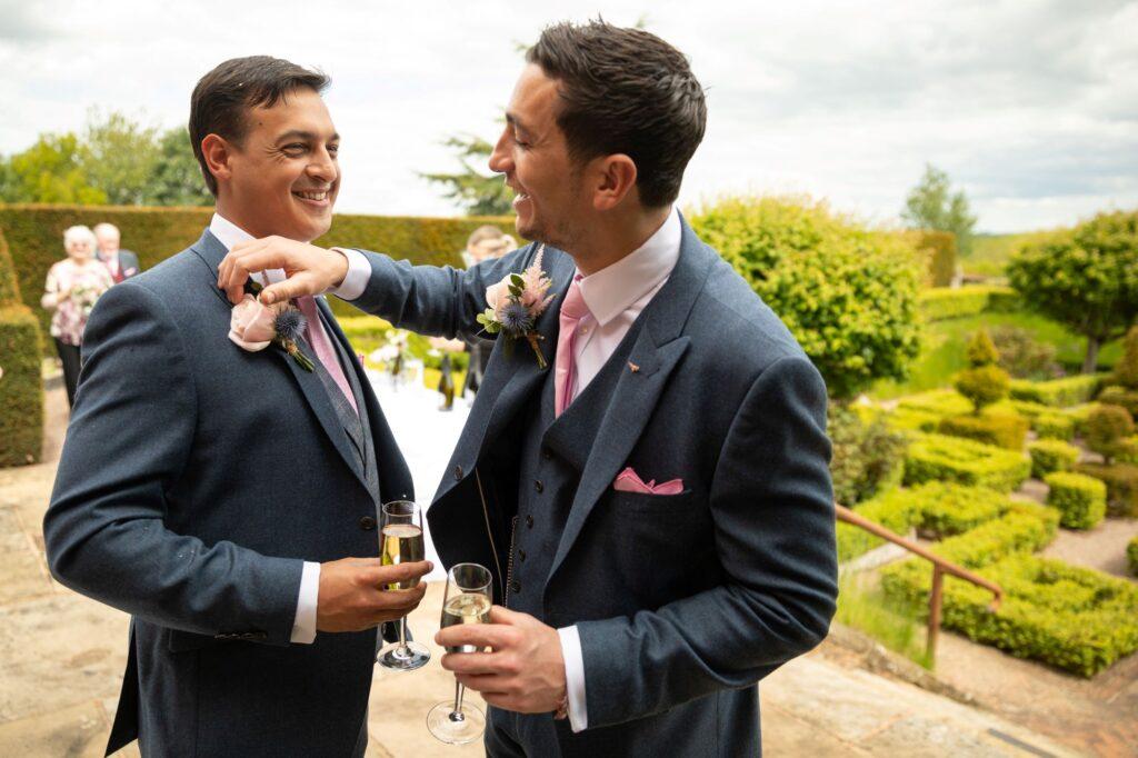 57 groom bestman garden reception pauntley court gloucester oxford wedding photographers
