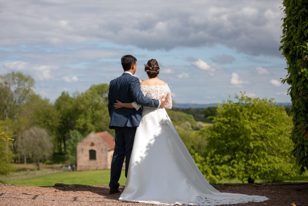 74 bride groom enjoy views pauntley court grounds gloucestershire oxfordshire wedding photography