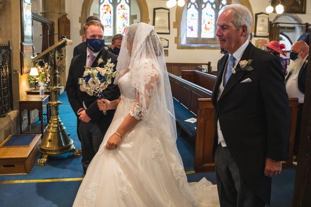 74 groom greets bride st marys church ceremony winkfield oxford wedding photographer