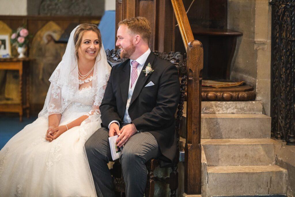 78 smiling bride groom st marys church ceremony winkfield berkshire oxfordshire wedding photographers