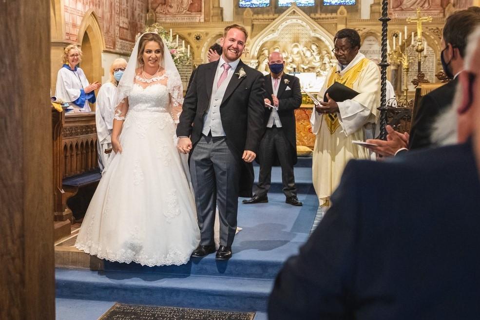79 bride grooms aisle walk st marys church ceremony winkfield berkshire oxfordshire wedding photography