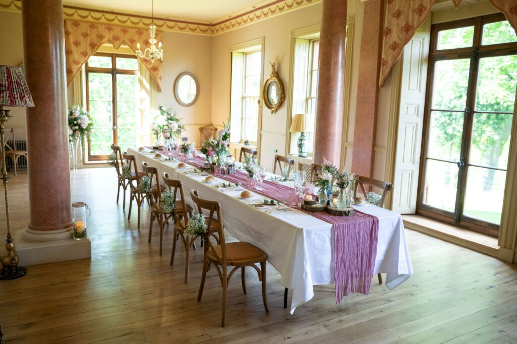 80 wedding breakfast table arrangement pauntley court gloucester oxford wedding photographer