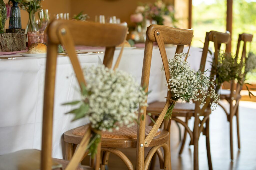 82 chairs floral decorations wedding breakfast pauntley court gloucester oxford wedding photography