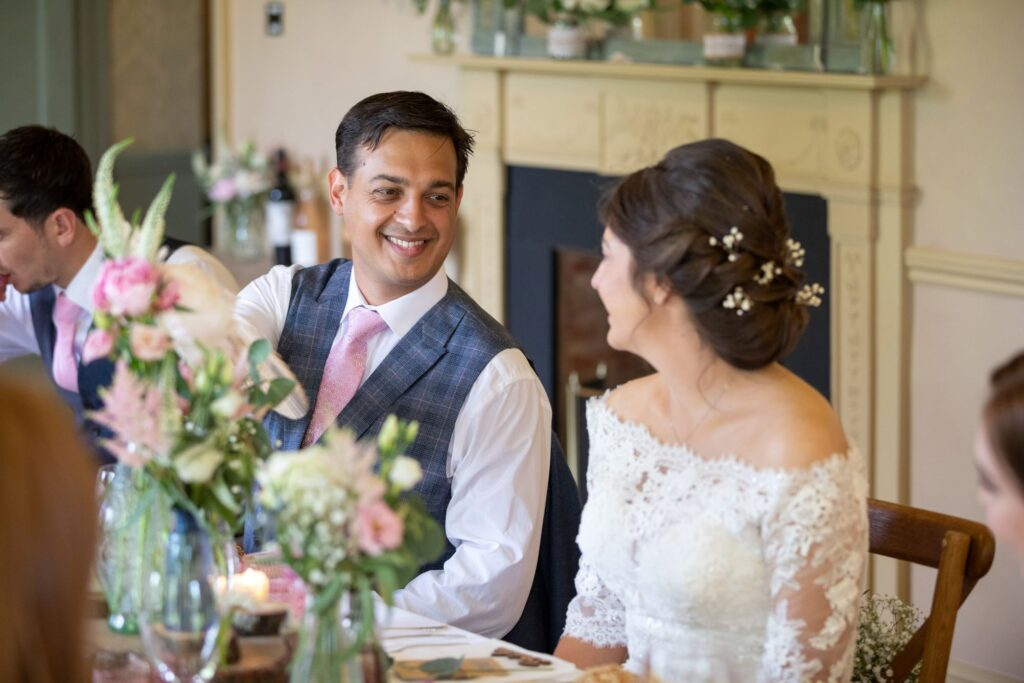 85 smiling bride groom wedding breakfast pauntley court gloucester oxfordshire wedding photography