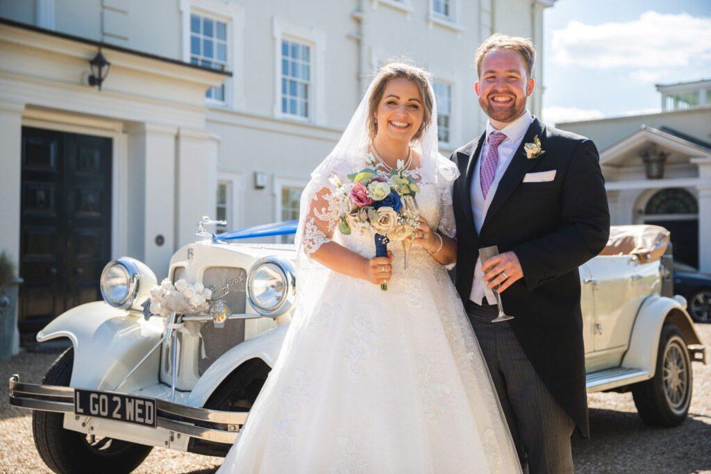 87 bride groom classic bridal car portrait winkfield berkshire oxford wedding photography