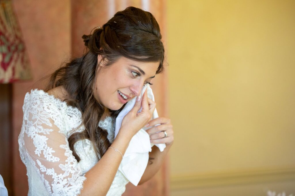 89 bride wipes tear pauntley court reception gloucester oxfordshire wedding photographer