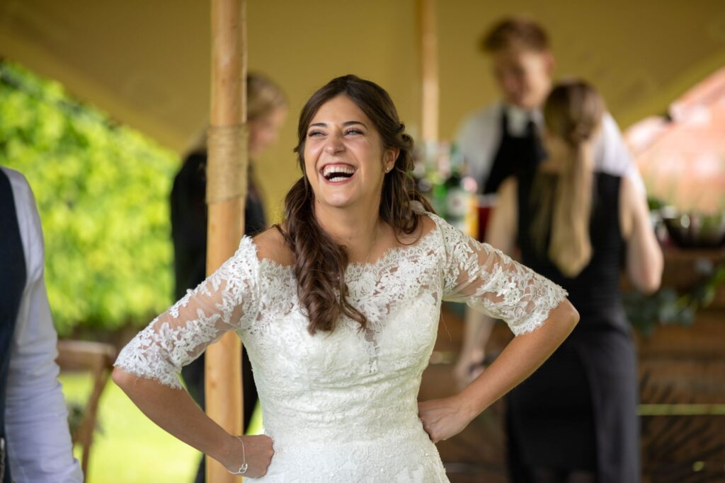94 laughing bride cocktail reception pauntley court gloucester oxford wedding photography