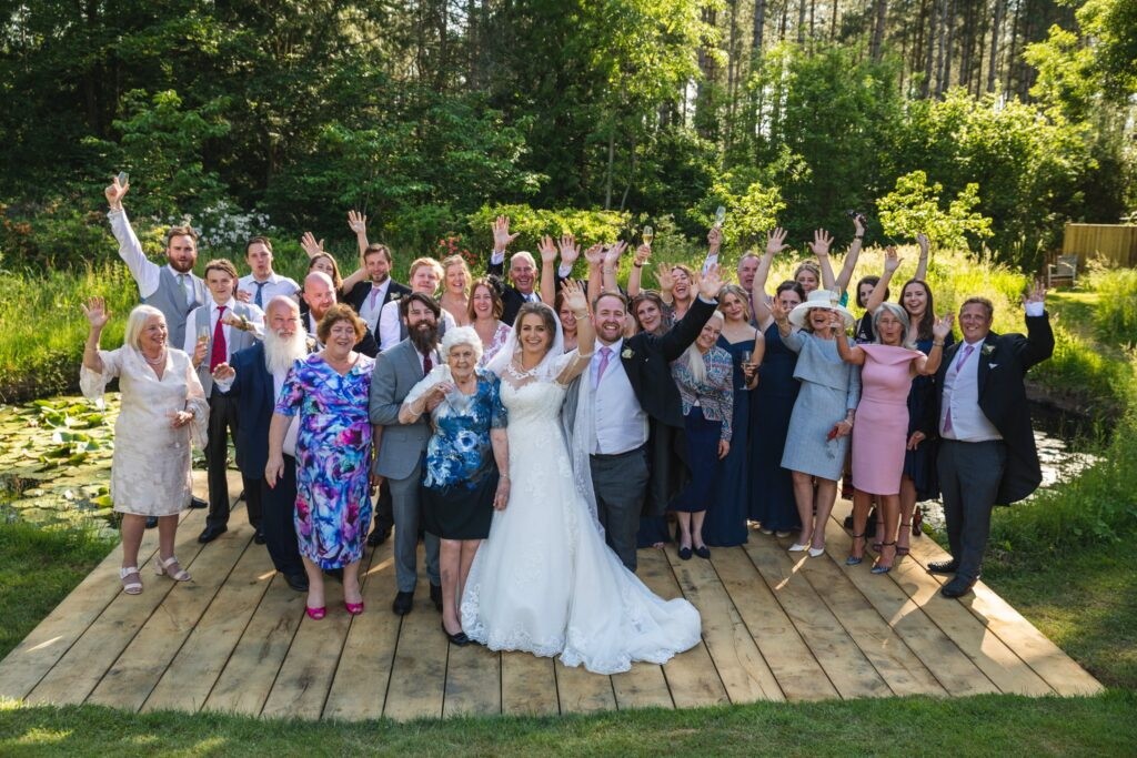 95 waving bridal party winkfield garden reception berkshire oxfordshire wedding photographers