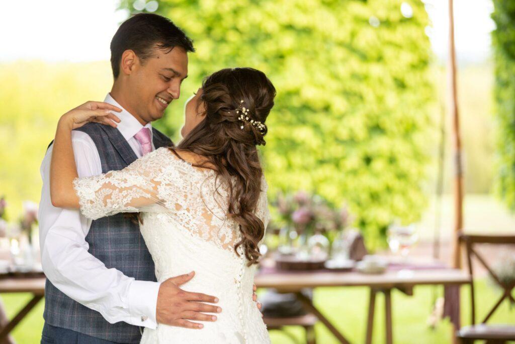 96 bride groom embrace pauntley court reception gloucester oxfordshire wedding photography
