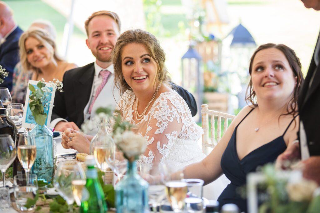 98 bride groom hear wedding breakfast speech winkfield marquee berkshire oxford wedding photographers